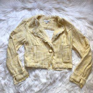 CAbi Fringe Tweed Style Cropped Blazer